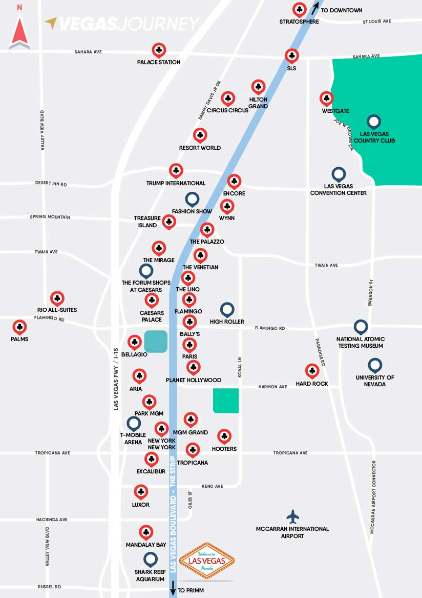 Las Vegas Map Of Strip Las Vegas Strip Map | Las Vegas Maps | VegasJourney.com